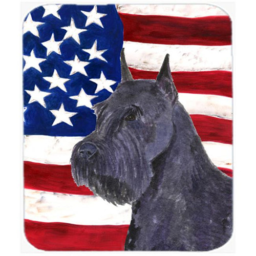 Carolines Treasures SS4007MP Usa American Flag With Schnauzer Mouse Pad Hot Pad Or Trivet