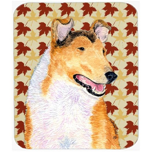 Carolines Treasures SS4386MP Collie Smooth Fall Leaves Portrait Mouse Pad Hot Pad Or Trivet