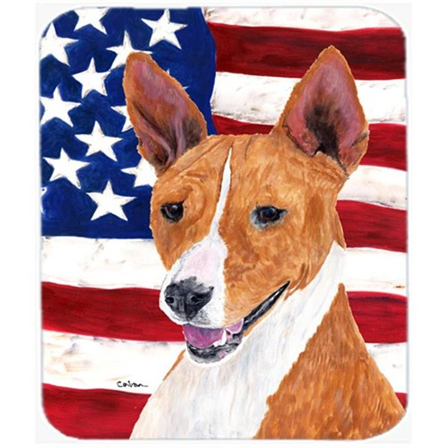 Carolines Treasures SC9033MP Usa American Flag With Basenji Mouse Pad Hot Pad Or Trivet