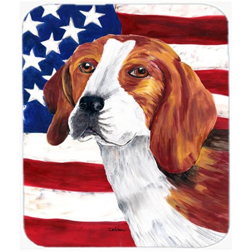 Carolines Treasures SC9005MP Usa American Flag With Beagle Mouse Pad Hot Pad Or Trivet