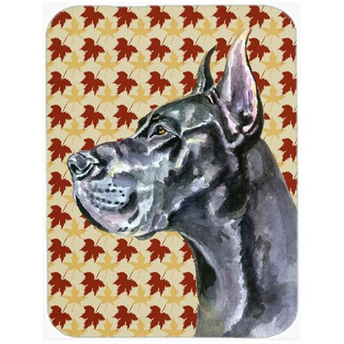 Carolines Treasures LH9557MP Black Great Dane Fall Leaves Mouse Pad Hot Pad & Trivet
