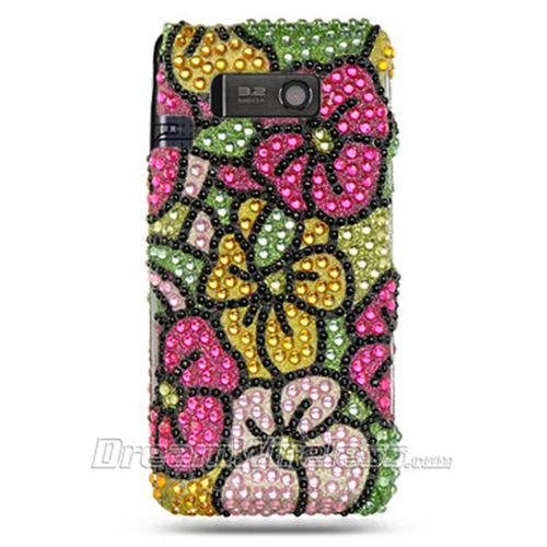 DreamWireless FDLGVS750GRHPHF LG Vs750 Fathom Full Diamond Case Green With Hot Pink Hawaii Flower