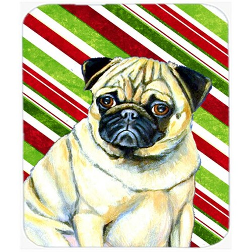 Carolines Treasures LH9252MP Pug Candy Cane Holiday Christmas Mouse Pad Hot Pad Or Trivet