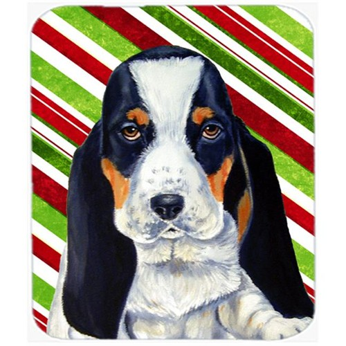 Carolines Treasures LH9239MP Basset Hound Candy Cane Holiday Christmas Mouse Pad Hot Pad Or Trivet