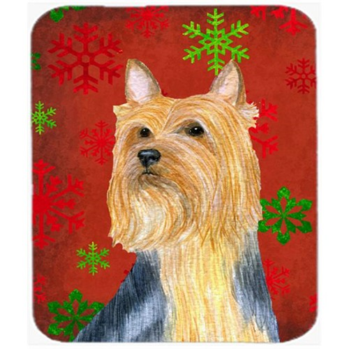 Carolines Treasures LH9316MP Silky Terrier Red And Green Snowflakes Christmas Mouse Pad Hot Pad Or Trivet - 7.75 x 9.25 In.