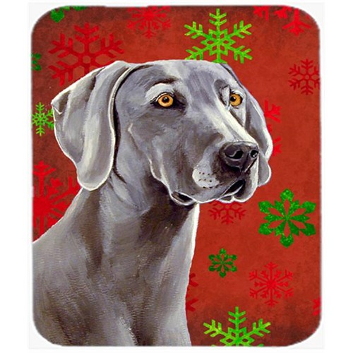 Carolines Treasures LH9341MP Weimaraner Red And Green Snowflakes Christmas Mouse Pad Hot Pad Or Trivet - 7.75 x 9.25 In.