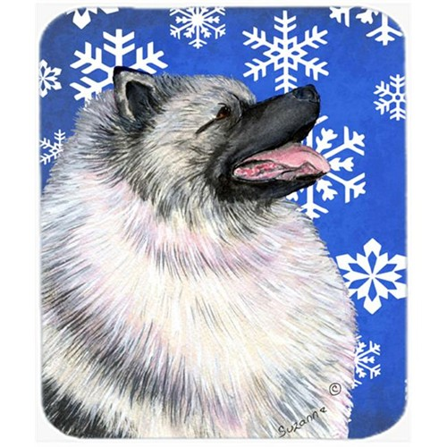 Carolines Treasures SS4626MP Keeshond Winter Snowflakes Holiday Mouse Pad Hot Pad or Trivet