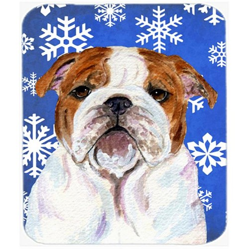 Carolines Treasures SS4622MP Bulldog English Winter Snowflakes Holiday Mouse Pad Hot Pad or Trivet