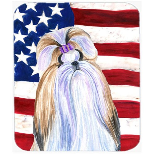 Carolines Treasures SS4221MP Usa American Flag With Shih Tzu Mouse Pad Hot Pad or Trivet