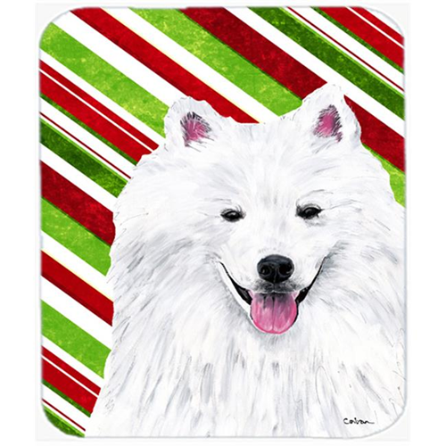 Carolines Treasures SC9339MP American Eskimo Candy Cane Holiday Christmas Mouse Pad Hot Pad or Trivet