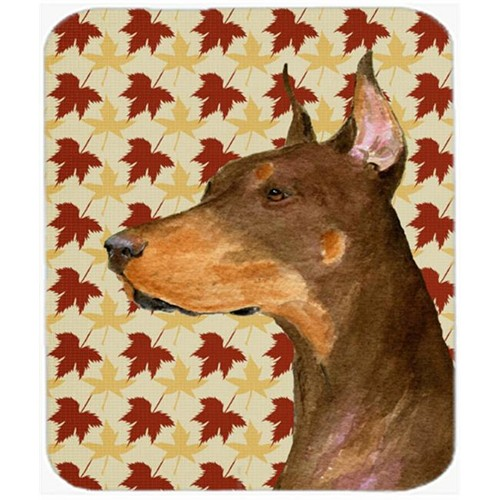 Carolines Treasures SS4388MP Doberman Fall Leaves Portrait Mouse Pad Hot Pad Or Trivet