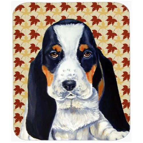 Carolines Treasures LH9104MP Basset Hound Fall Leaves Portrait Mouse Pad Hot Pad or Trivet