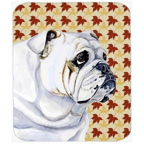 Carolines Treasures LH9094MP Bulldog English Fall Leaves Portrait Mouse Pad Hot Pad Or Trivet