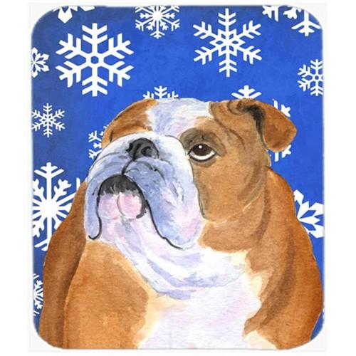 Carolines Treasures SS4629MP Bulldog English Winter Snowflakes Holiday Mouse Pad Hot Pad or Trivet