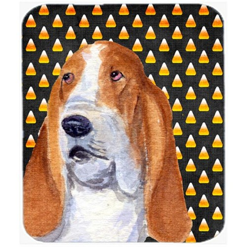Carolines Treasures SS4321MP Basset Hound Candy Corn Halloween Portrait Mouse Pad Hot Pad or Trivet