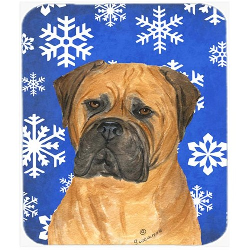 Carolines Treasures SS4655MP Bullmastiff Winter Snowflakes Holiday Mouse Pad Hot Pad or Trivet
