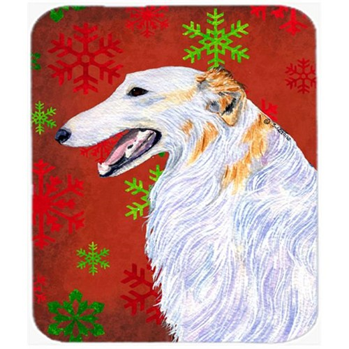 Carolines Treasures SS4682MP Borzoi Red and Green Snowflakes Holiday Christmas Mouse Pad Hot Pad or Trivet