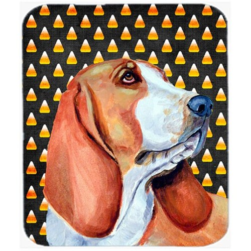 Carolines Treasures LH9073MP Basset Hound Candy Corn Halloween Portrait Mouse Pad Hot Pad or Trivet
