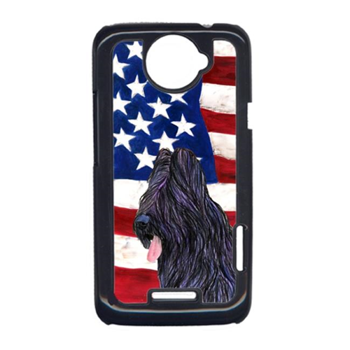 Carolines Treasures SS4052HTCONE USA American Flag With Briard HTC One X Cell Phone Cover