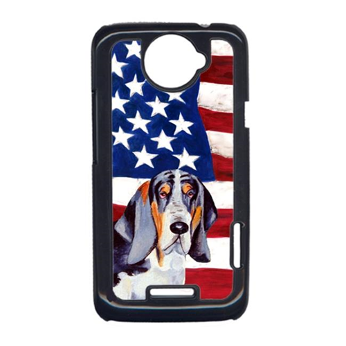 Carolines Treasures LH9014HTCONE USA American Flag With Basset Hound HTC One X Cell Phone Cover