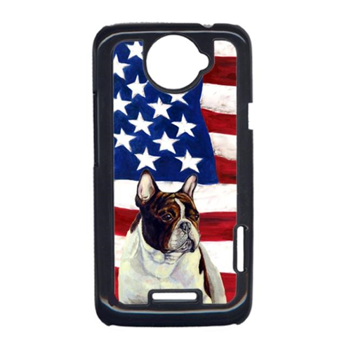 Carolines Treasures LH9006HTCONE USA American Flag With French Bulldog HTC One X Cell Phone Cover