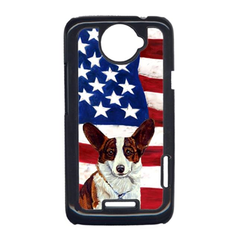 Carolines Treasures LH9011HTCONE USA American Flag With Corgi HTC One X Cell Phone Cover