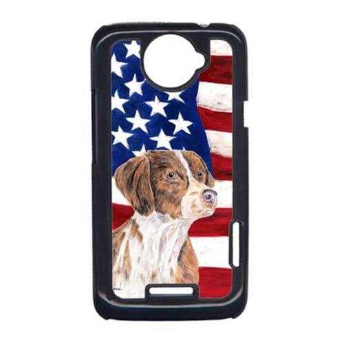 Carolines Treasures SC9112HTCONE USA American Flag With Brittany HTC One X Cell Phone Cover