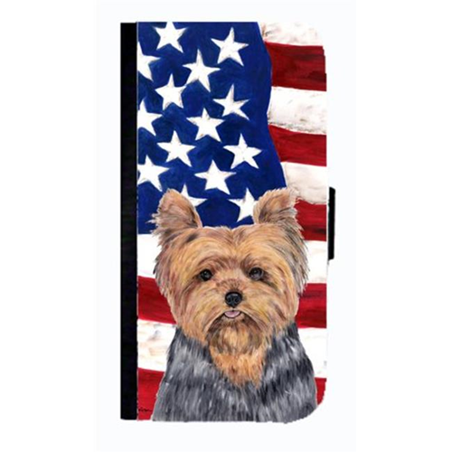 Carolines Treasures SC9111NBIP4 USA American Flag With Yorkie Cell Phonebook Case Cover For Iphone 4 Or 4S