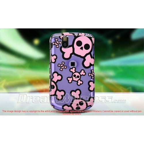 DreamWireless CABB9630PPPKSK Blackberry 9630 Tour Crystal Case - Purple with Pink Skull