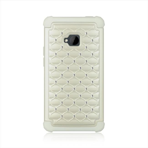 DreamWireless SCAHTCM7STDCKWT-WT HTC One M7 Compatible Hybrid Diamond Decor Case White Skin Plus White PC