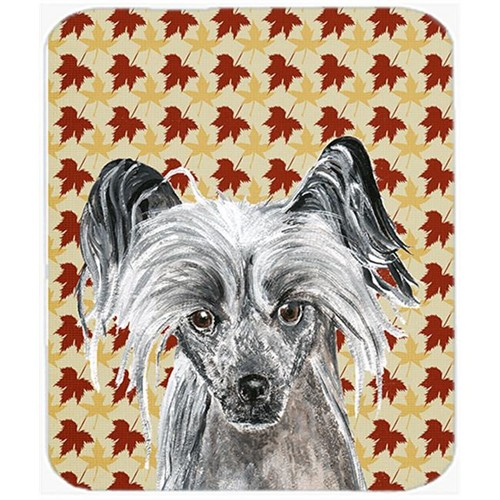 Carolines Treasures SC9550MP 7.75 x 9.25 in. Chinese Crested Fall Leaves Mouse Pad Hot Pad or Trivet
