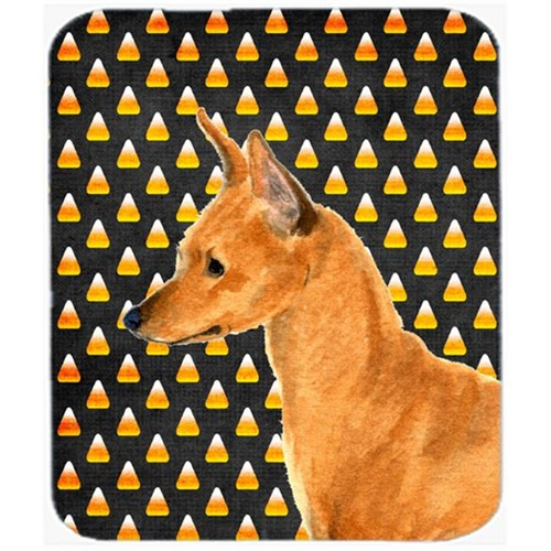 Carolines Treasures SS4259MP Min Pin Candy Corn Halloween Portrait Mouse Pad Hot Pad Or Trivet