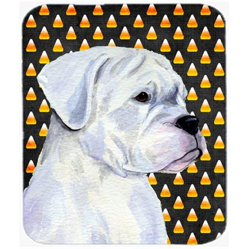 Carolines Treasures SS4302MP Boxer White Candy Corn Halloween Portrait Mouse Pad Hot Pad Or Trivet