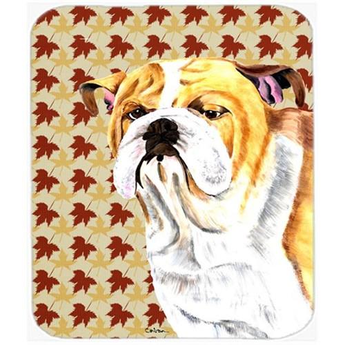 Carolines Treasures SC9214MP Bulldog English Fall Leaves Portrait Mouse Pad Hot Pad or Trivet