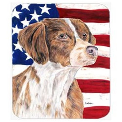 Carolines Treasures SC9112MP Usa American Flag With Brittany Mouse Pad Hot Pad Or Trivet