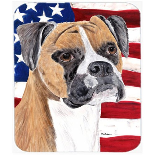 Carolines Treasures SC9113MP Usa American Flag With Boxer Mouse Pad Hot Pad Or Trivet