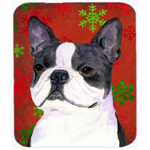 Carolines Treasures SS4723MP Boston Terrier Snowflakes Holiday Christmas Mouse Pad Hot Pad or Trivet