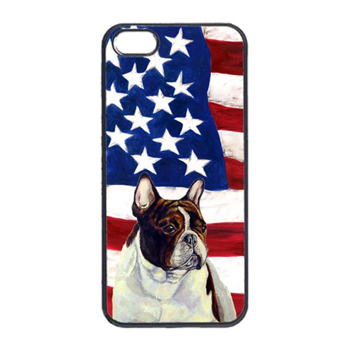 Carolines Treasures LH9006IP4 USA American Flag With French Bulldog Iphone 4 Cover
