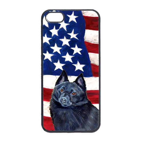 Carolines Treasures LH9009IP4 USA American Flag With Schipperke Iphone 4 Cover
