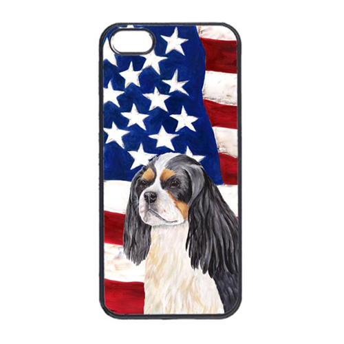 Carolines Treasures SC9114IP4 USA American Flag With Cavalier Spaniel Iphone 4 Cover