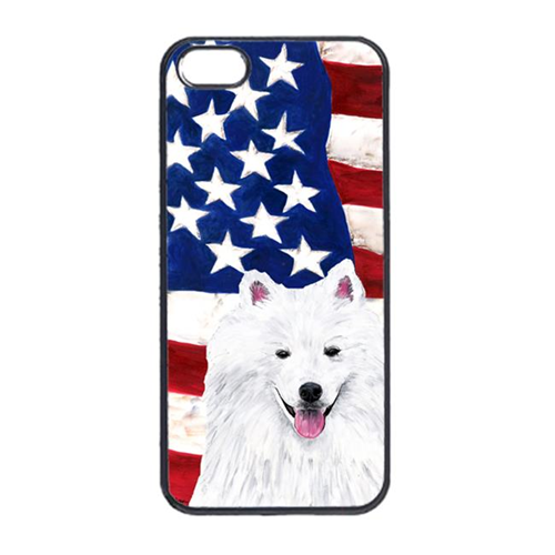 Carolines Treasures SC9023IP4 USA American Flag With American Eskimo Iphone 4 Cover