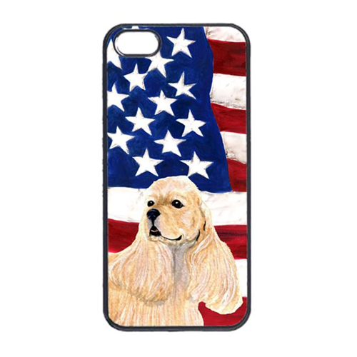 Carolines Treasures SS4006IP4 USA American Flag With Cocker Spaniel Iphone 4 Cover