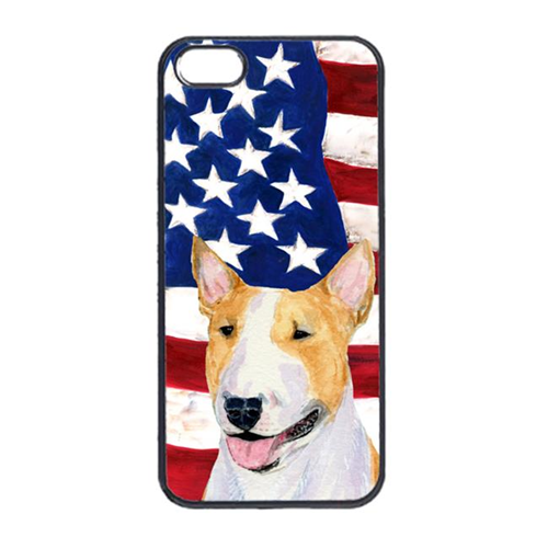 Carolines Treasures SS4023IP4 USA American Flag With Bull Terrier Iphone 4 Cover
