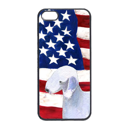 Carolines Treasures SS4045IP4 USA American Flag With Bedlington Terrier Iphone 4 Cover