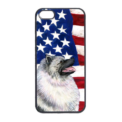 Carolines Treasures SS4051IP4 USA American Flag With Keeshond Iphone 4 Cover