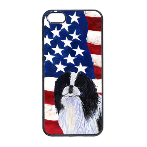 Carolines Treasures SS4223IP4 USA American Flag With Japanese Chin Iphone 4 Cover