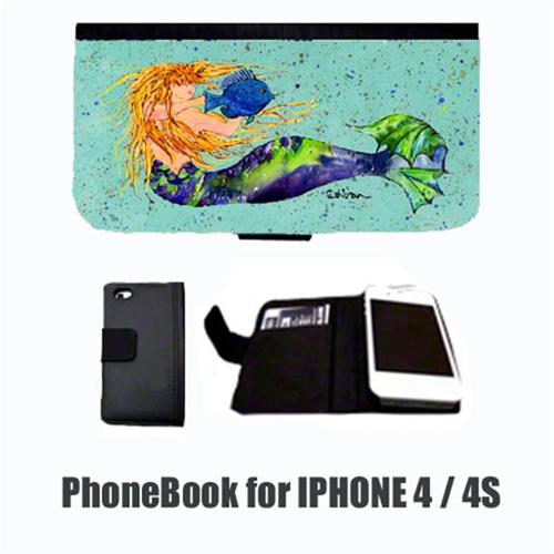 Carolines Treasures 8336-NBIP4 Mermaid Blonde Mermaid Cell Phonebook Cell Phone case Cover for IPHONE 4 or 4S