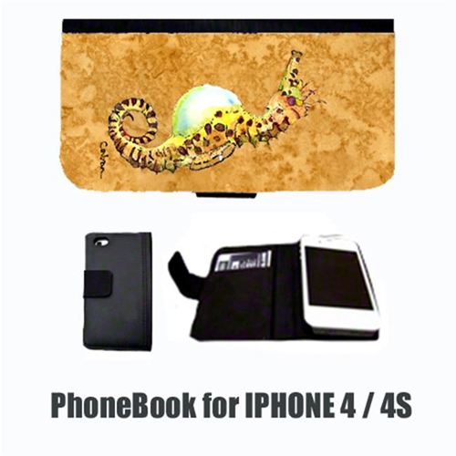 Carolines Treasures 8640-NBIP4 Seahorse Male on gold Cell Phonebook Cell Phone case Cover for IPHONE 4 or 4S