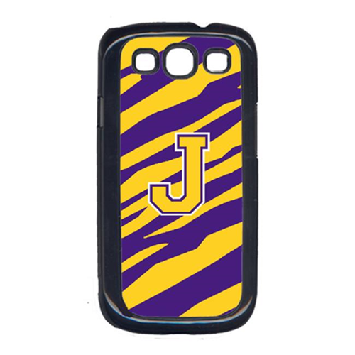 Carolines Treasures CJ1022-J-GALAXYSIII Tiger Stripe - Purple Gold Letter J Monogram Initial Galaxy S111 Cell Phone Cover