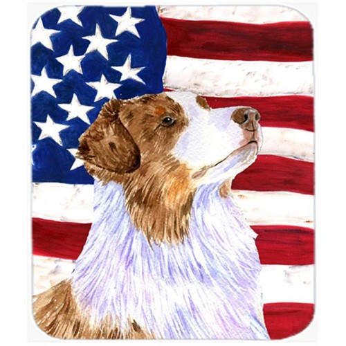 Carolines Treasures SS4252MP Usa American Flag With Australian Shepherd Mouse Pad Hot Pad Or Trivet